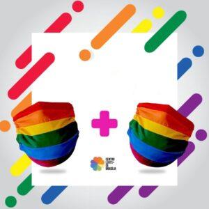 máscara arco-íris covid centro lgbts de brasília