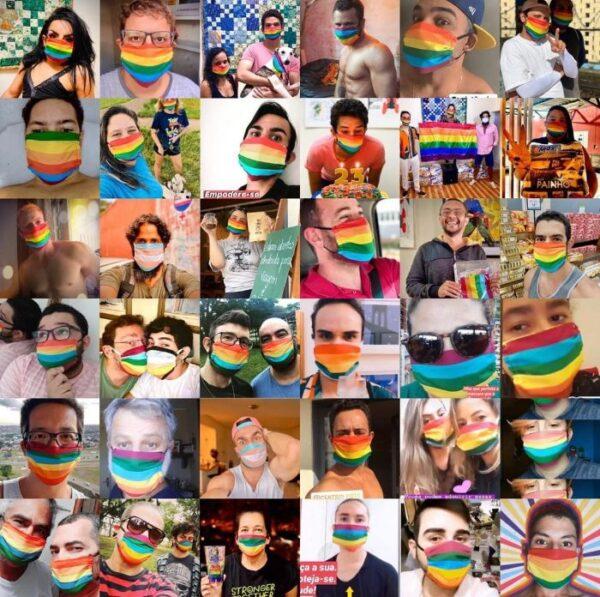 máscara covid arco-íris centro lgbts de brasília